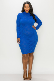 Plus Size Long Sleeve Solid Mini Dress.