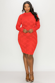 Plus Size Long Sleeve Solid Mini Dress.