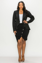 Plus Size Solid Long Sleeve Blazer.