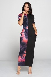 Short Sleeve Color Block Maxi Dress.