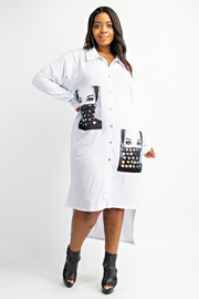 Plus Size Shirt Dress with contrast pockets.