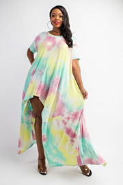Plus Size Tiedye Hi-low Dress.