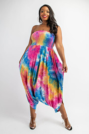 Plus Size Tiedye Smocked tube jumpsuit.