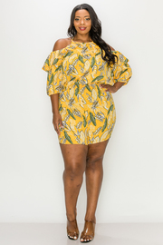Plus Size Cold Shoulder Print Romper.