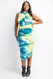 Plus Size Tiedye Crop Top and Shirred Skirt Set.