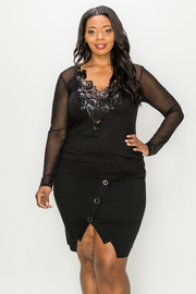 Plus Size Solid Mesh Long sleeve Top with Embroidery deail.