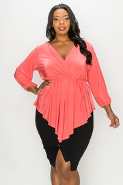 Plus Size Long Sleeve V-neck Top.