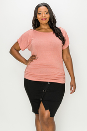 Plus Size Short Sleeve Top with Shirring on side.