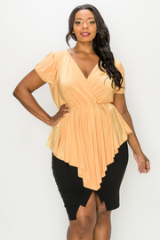 Plus Size V-neck Solid Short Sleeve Top.