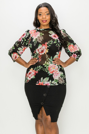 Plus Size Floral Print 3/4 Sleeve Mesh Top.