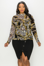 Plus Size Print Long Sleeve Top.