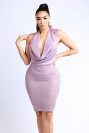 Lurex rib halter Dress.