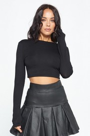 Long Sleeve Crop Top with open back.