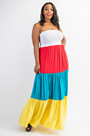 Plus Size Color Block Tube Dress.