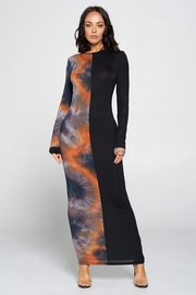 Two Tone Color Long sleeve Maxi Dress. Rayon Spandex Tiedye.