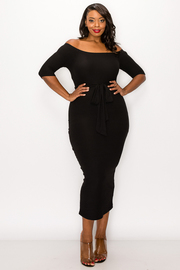 Plus Size Open Shoulder Solid Dress with tie.