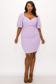 Plus Size Solid Ruffle Mini Dress.