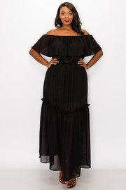 Plus Size Solid Open Shoulder Ruffle Chiffon Maxi Dress.