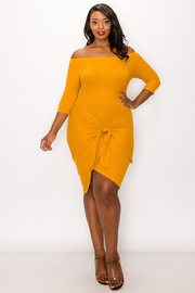 Plus Size Open Shoulder Wrap Dress.