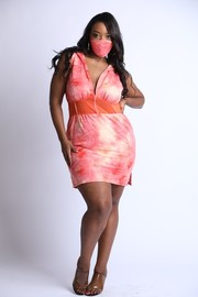Plus Size Distressed tie dye mesh contrast corset detailed mini dress with mask.