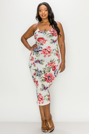 Plus Size Floral Print Dress.