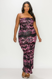 Plus Size Tube Tiedye Maxi Dress.