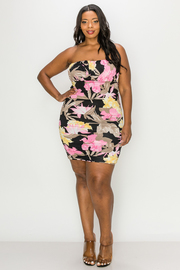 Plus Size Floral Print Tube Mini Dress.