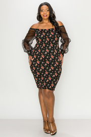 Plus Size Open Shoulder floral print with mesh detail.