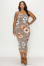 Plus Size Floral Print Long Dress.