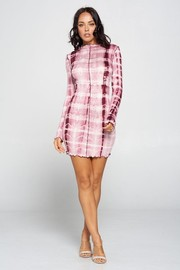 Tie Dye Rayon Jersey Long Sleeve Mini Dress.