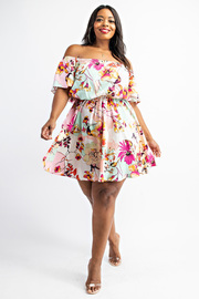 Plus Size Off Shoulder flare short dress.