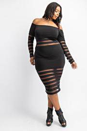 Plus Size Off shoulder dress with stripe panels.