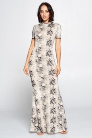 Snake Skin Print Short Sleeve Maxi Dress.