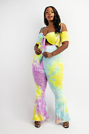 Plus Size Tie Front Crop Top and Flare Pants Set.