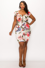 Plus Size Floral Print Ruffle Mini Dress.