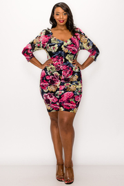 Plus Size Floral Print Mini Dress.