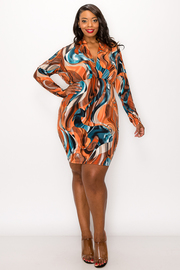 Plus Size Long Sleeve Print Mini Dress.
