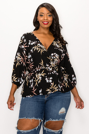 Plus Size Deep V-neck Long Sleeve Print Top.