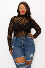 Plus Size Long Sleeve Bodysuit.