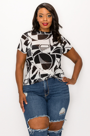 Plus Size Print Short Sleeve Top.
