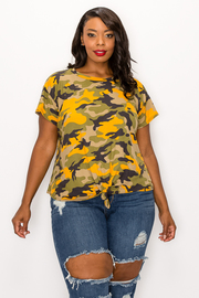 Plus Size Camo Printed Short Sleeve Top.
