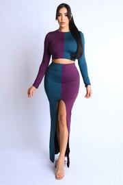 Color blocked maxi skirt front slit set.