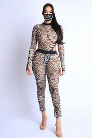 Zebra bodysuit set thumhole.