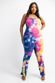 Plus Size Cami Jumpsuit with ruched bottom.