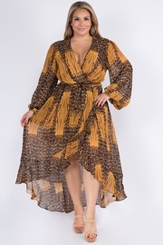 Plus Size Chiffon Long Sleeve Long Dress.