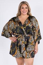 Plus Size Oriental Mood Satin Kimono Romper.