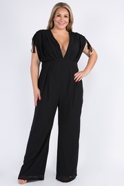 Plus Size Ruched Sleeve V neck jumpsuit.