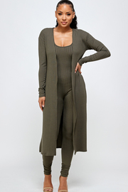 Round neckline jumpsuit & Duster Cardigan Set.