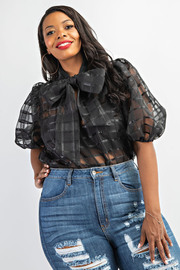 Plus Size Balloon Sleeve Top With Tie Neck.