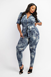 Plus Size Short Sleeve Zip-front Jumpsuit.